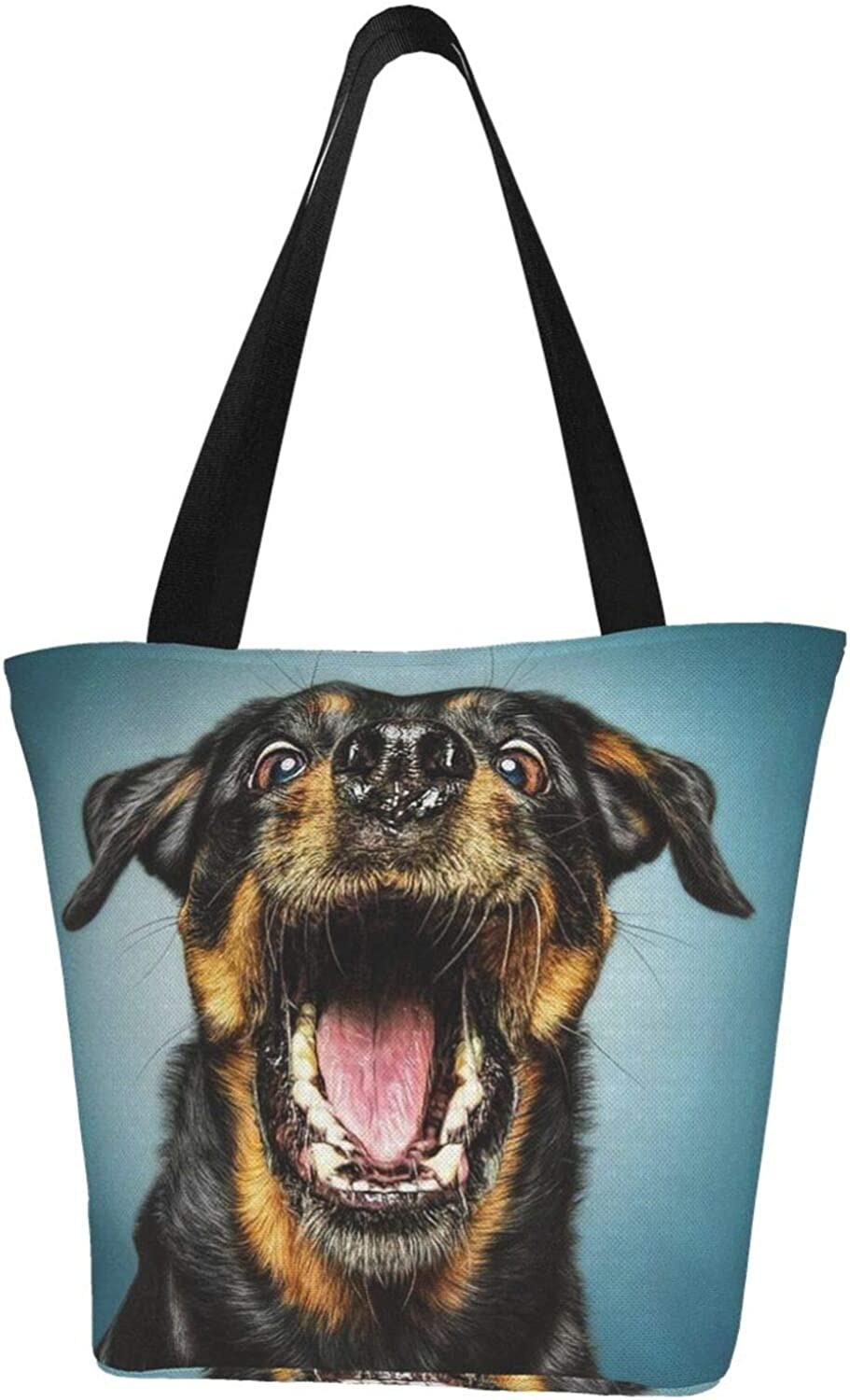 Funny Theme Rottweile Happy Face Themed Printed Women Canvas Handbag Zipper Shoulder Bag Work Booksbag Tote Purse Leisure Hobo Bag For Shopping