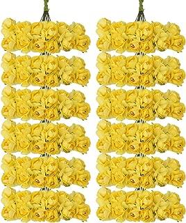 144pcs Artificial Paper Rose Flower Buds Mini Bouquet Party Decor- Yellow