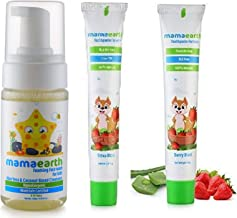 Mamaearth Foaming Baby Face Wash for Kids with Aloe Vera and Coconut Based Cleansers, 120 ml & 100 Percent Natural Berry Blast Kids Toothpaste, 50g Combo