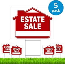 """Estate Sale Signs with Stakes (5 Pack) – Premium Double-Sided Estate Sale Signs with Directional Arrows & Heavy Duty Yard Stakes (Large 18"""" x 24"""" Size) – New!"""