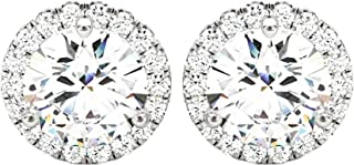 1-5 Carat Round Halo Diamond Earrings 14K Gold Value Collection Push Back