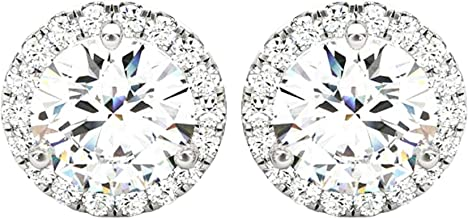 1-5 Carat Round Halo Diamond Earrings 14K Gold Value Collection Screw Back