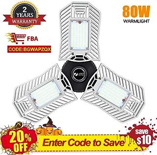 LED Garage Lights Deformable 80W Garage Light 8000 Lumen 3000K with 3 Adjustable Panels E26 Shop Lights for Garage(Warm Light)