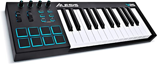Alesis V25 | 25 Key USB MIDI Keyboard Controller with Backlit Pads, 4 Assignable Knobs and Buttons, Plus a Profession...