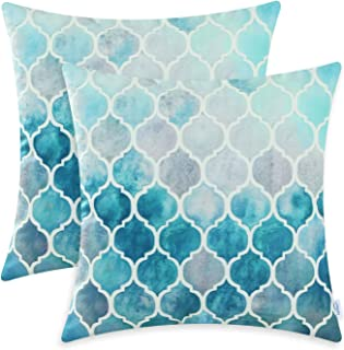 Best CaliTime Pack of 2 Cozy Throw Pillow Cases Covers for Couch Bed Sofa Farmhouse Manual Hand Painted Colorful Geometric Trellis Chain Print 20 X 20 Inches Main Grey Teal Review