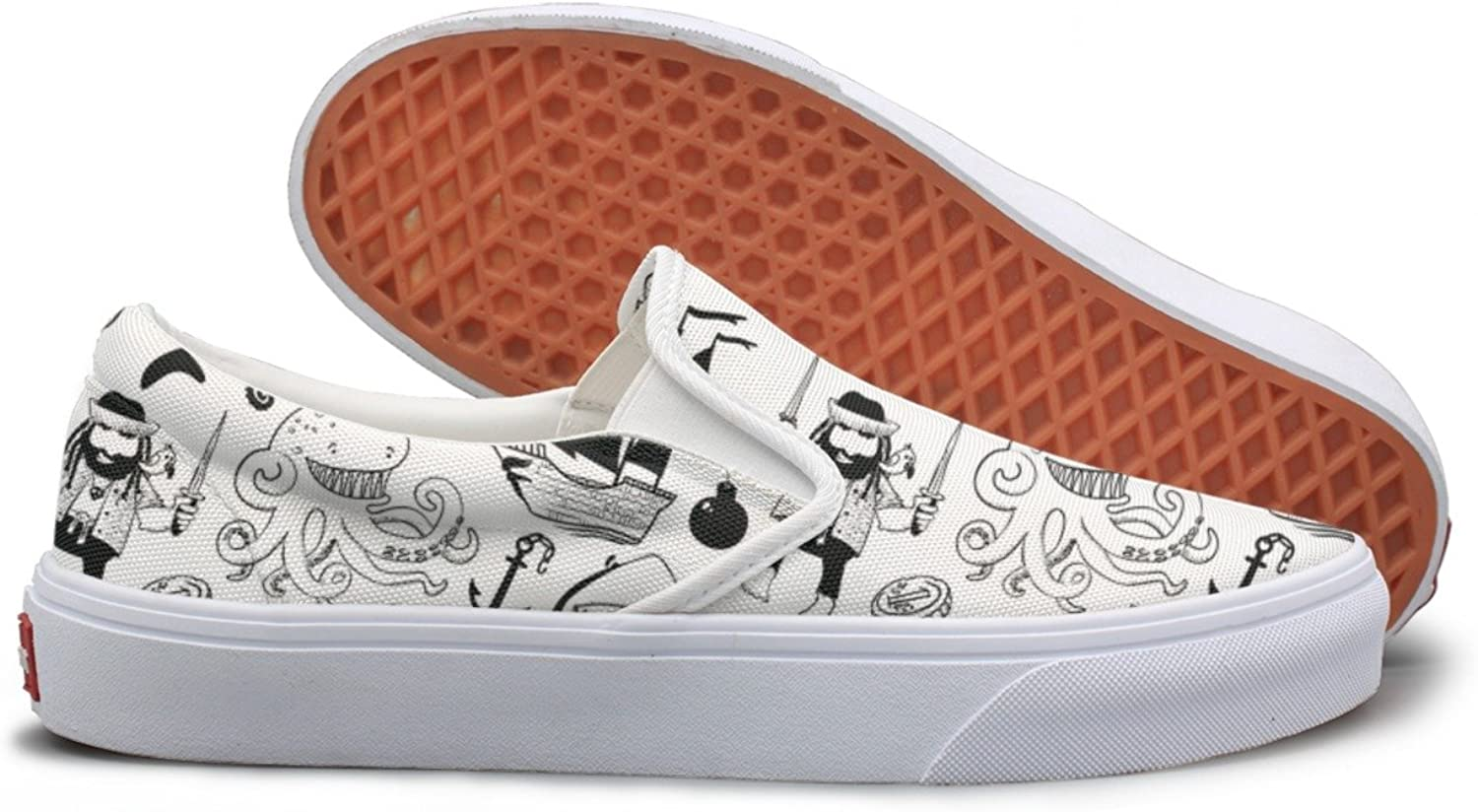 SEERTED Witpirates and Sharks Nautical White Canvas Slip On shoes for Women