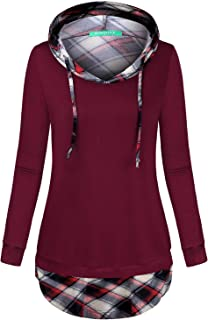 Kimmery Woman Long Sleeve V Neck Drawstring Plaid Patchwork Sweatshirt Hoodie