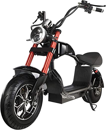 Amazon.com : Electric Scooter for Adults 800W Motor Fat Tire Citycoco Scooters Up to 20 Mph & 16 Miles 48V 12Ah Lithium Removable Battery Lowboy Scooter Harley Electric Moped with Front &