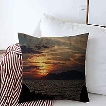 Throw Pillow Case Sunlight Blue Gold Sunset Lighting On Adriatic Sea Tropical Nature Dusk Beach Coast Croatia Makarska Farmhouse Decor Cushion Pillows Covers 20