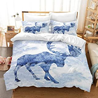 KANAKAL Moose 3PC Bedding Set Blue Pattern Pine Needles Spruce Tree with Antlers Deer Family Snow Winter Horns Theme Decor 1 Duvet Cover with 2 Matching Pillow Sham Blue White Twin