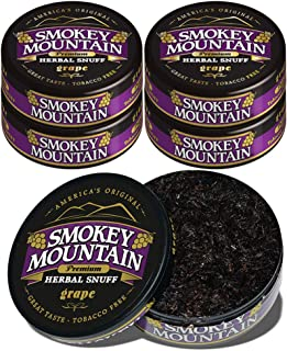 Smokey Mountain Herbal Snuff - Grape - 5 Cans - Nicotine-Free and Tobacco-Free Herbal Snuff - Great Tasting & Refreshing Chewing Tobacco Alternative