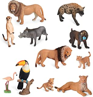 Volnau Animal Toys Figurines Africa Animals Figures Zoo Pack for Kids Preschool Educational and Lion Jungle Forest King Animals Sets, BPA Free