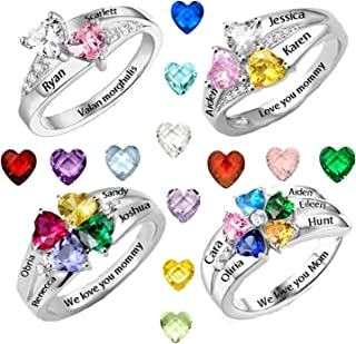 AILIN Engraving Name Ring Personalized Heart Shape Birthstone Ring Mother's Day Ring Gift for Her Promise Ring Band Engagement Ring