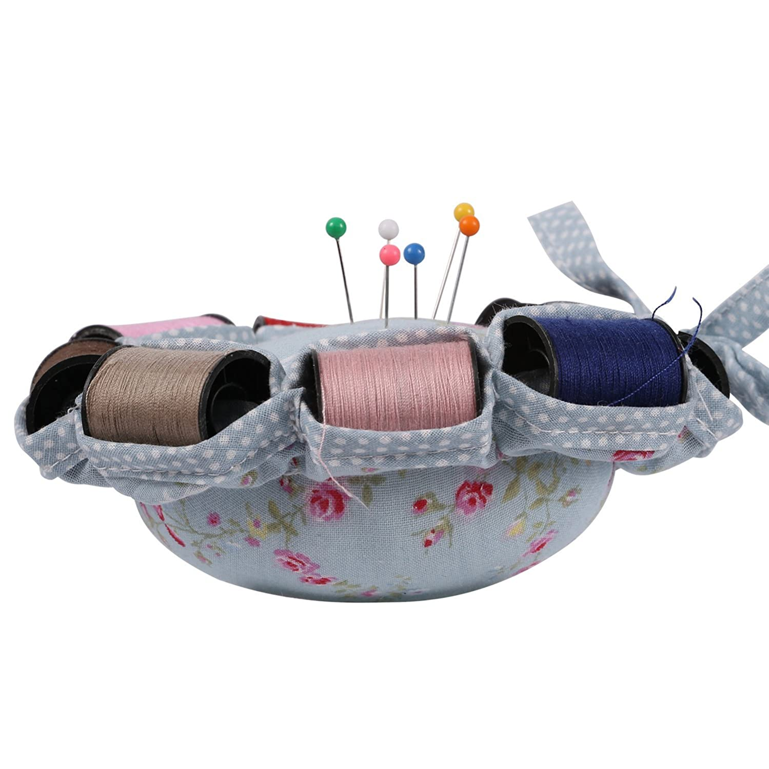NEOVIVA Fabric Coated Fully Padded Pincushion with 8 Replaceable Rolls of Threads, Floral Blue Ocean