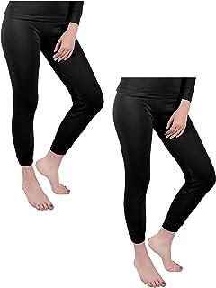 ANDREW SCOTT Women's 2 Pack Long Thermal Fleece Cotton Legging Pants (Large, 2 Pack-Black)