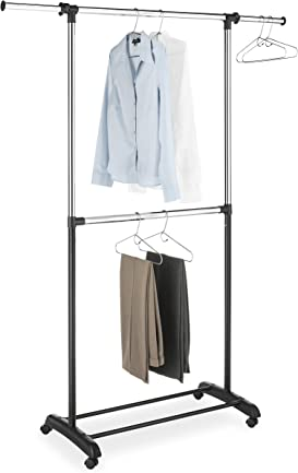Explore rolling closet racks for clothes