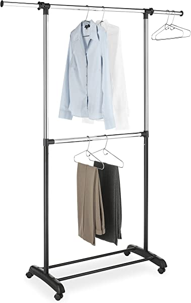 Whitmor Adjustable 2 Rod Garment Rack Rolling Clothes Organizer Black And Chrome