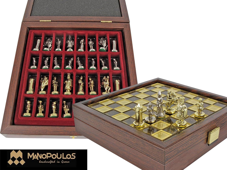 Manopoulos Collection Byzantine Empire Chess set   Byzantinisches Reich Schachspiel Schach Schachspiel aus Metall und Holz Alabaster 20x20cm 1,2kg
