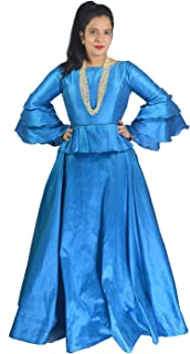 Indian Dresses Store SANCHYA Women's Plain Dupion Silk Long Flared Skirt and Bell Top 2 Pieces Set (999002190202; Blue; 38)