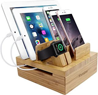 iCozzier Bamboo 5-Slot Removable Tablet Phone Stand Holder Desktop Cord Organizer Multi-Devices Docking Station for Smartphones,Tablets,iWatch