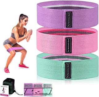 Resistance Bands Set, Non-Slip Fabric Resistance Hip Bands Set with 3pcs Resistance Levels for Legs & Hips & Glutes Fitnes...