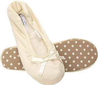 Jessica Simpson Womens Satin Ballerina Yoga Slipper with Bow