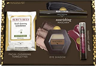 Burt's Bees Boldly Beautiful Gift Set, 4 Products in Giftable Box - Eye Shadow Palette, Mascara, Lip Crayon and Facial Cleansing Towelettes
