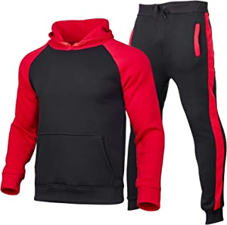 Men's Winter Sport Wear Tracksuit Clothes Outfits Set, Long Sleeve Pullover Hoodies Sweatshirt+Long Sweatpants 2 Pcs