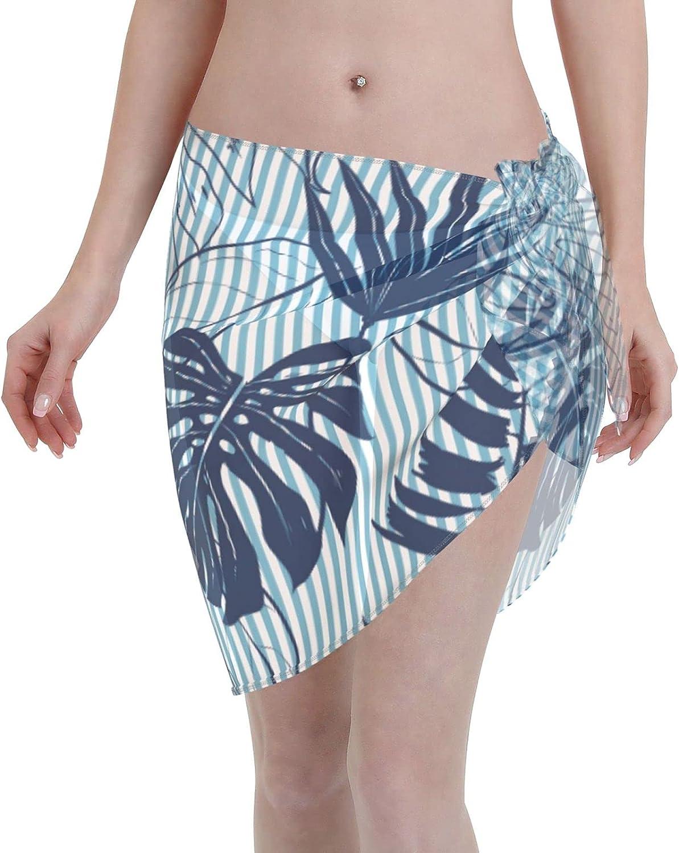 Jeezhub Green Tropical Plant Leaf Women Short Sarongs Beach Wrap Sheer Bikini Wraps Chiffon Cover Ups for Swimwear