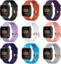 9 Pack Large and Small Bands with Rose Gold Watch Clasp Compatible with Fitbit Versa / Versa 2 / Versa Lite / Versa SE Sma...