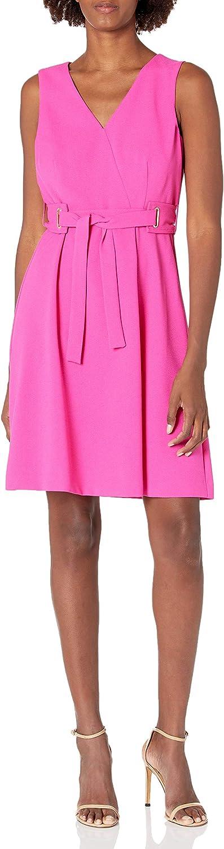 NINE WEST Women's Belted Fit & Flare Dress