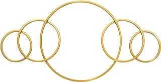 ST.LORIAN Metal Wall Decor Sculpture,Gold Five Circles Design Iron Artwork for Indoor Home Decoration(Gold, 35Lx17.5H)