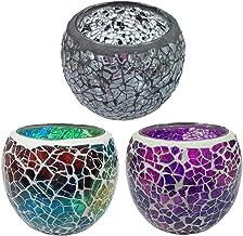 F Fityle 2/3/5PCS Mosaic Glass Tea Light Candle Holder for Wedding Home Garden Decoration - A+D+G, 8.5x6.8cm