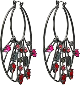 Rhinestone Cluster 2-Layer Circle Hoop Earrings