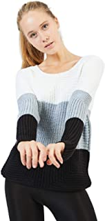 Women's Sweater Wool Knit Pullover Classic Long Sleeve Basic Block Color Casual Crewneck