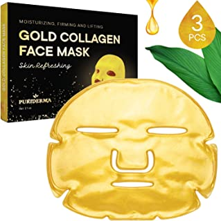 Puriderma Collagen Crystal Gold Facial Mask, Natural & Gentle Formula for Moisturizing, Anti-Aging, Anti-Wrinkle, Oil Control, Pore Reduction (3 Pack)