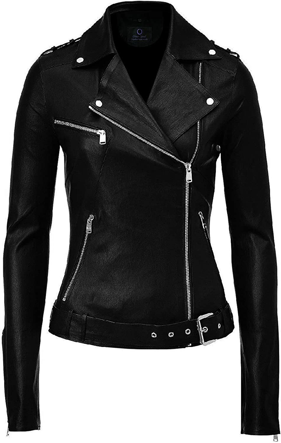 Chase Squad Notch Collar Biker Faux Leather Jacket Women  Long Sleeves Leather Jacket with Adjustable Waist Belt