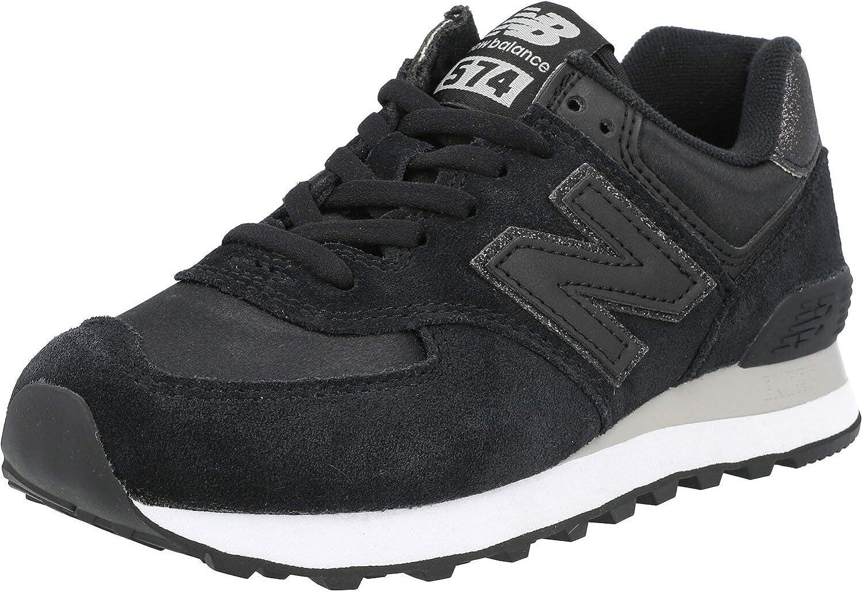New Balance 574 Black/Rain Cloud Suede Adult Trainers Shoes
