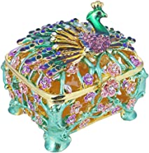 YUFENG Trinket Box Metal Enameled Collectable Wedding Jewelry Ring Holder Organizer (Peacock)