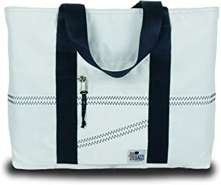 Sailcloth Tote Bag (White/Blue Straps, Medium)