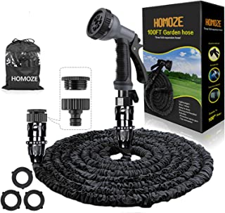 HOMOZE 100ft Expandable Garden Hose Pipe with 8 Function Spray Gun Flexible Expanding Water Hose Free Garden Storage