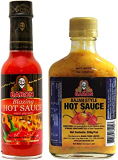 Baron Blazing Hot Sauce 5.5 Ounce and Bajan Style Hot Sauce 7 Ounce (200 grams) (Pack of 2)