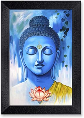 Ritwikas Abstract Wall Art of Meditating Buddha in Blue Hue with Frame for Home and Office Décor   13.5 inch x 9.5 inch   Multi Colored   Digital Painting