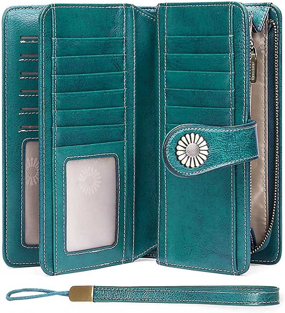 SENDEFN Wallets for Women Genuine Leather Credit Card Holder with RFID Blocking Large Capacity Wristlet : Clothing, Shoes & Jewelry