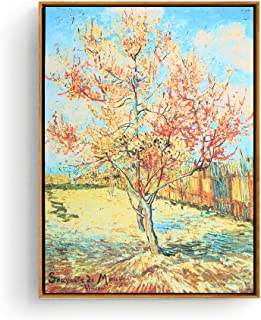 Hepix Vincent Van Gogh Pink Peach Tree Wall Art, Canvas Print Famous Oil Painting Floral Nature Famous Wall Poster Classic Reproductions for Home Decor, 13x17inch (Framed)