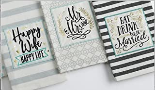 DII Design Imports Bundle Set 3 Wedding Just Married Embellished Kitchen Dish Towels - Mr. and Mrs. - Happy Wife Happy Life - Eat Drink and Be Married