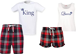 60 Second Makeover Limited King and Queen Couples Matching Pyjama Tartan Shorts Set Couples Dog Bulldog