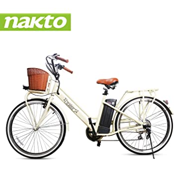 """NAKTO 250W Electric Bike 26"""" Electric Bicycle 6 Speed Electric Bikes for Adults with Basket High Speed Ebike with 36V 12AH Removable Battery"""