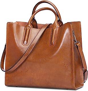 S-ZONE Damen 3-Way Schultertasche Echtes Leder Top-Griff Tasche Crossbody Bag Arbeitstasche Umhängetasche Handtasche