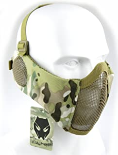 ATAIRSOFT Tactical Airsoft CS Protective Lower Guard Mesh Nylon Half Face Mask with Ear Cover